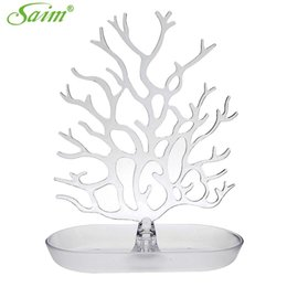 Wholesale Acrylic Necklace Organizer - Creative Jewelry Organizer Acrylic Crystal Jewelry Tree Stand Display Earring Necklace Ring Ornament Holder Y0000012001