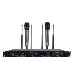 Wholesale Uhf Adapter - UHF Wireless Microphone Mic System Dual Channels LCD Display Receiver 2 Handheld Microphones 6.35mm Audio Cable Power Adapter