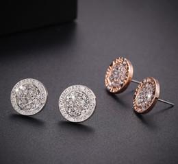 Wholesale Gems Rhinestones - M letter earrings Round gem studs for women big brand luxury Gold-plated earrings