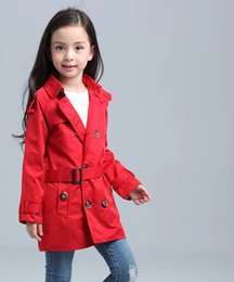 Wholesale baby double breasted coats - Children Tench Coats 100% Cotton Girls Trench Coats Double-breasted Kids Windbreaker For Girls 3-8 Years Toddler Baby Girls Outerwear
