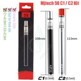 100% originale Mjtech 5S C1 / C2 Vape Pen Cartucce di olio spesse O penne CE3 Ceramica Bobine di vetro Pyrex Serbatoio 320mAh Kit monouso e Vapori di sigaretta da
