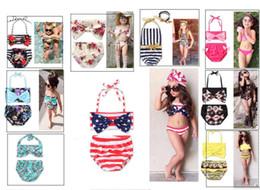 Wholesale teenage catsuit - Children Split Swimsuit Girls Stripe Flower Bikini Cute Swimsuit Suit Baby 2 to 6 Years Old Multi Color Lovely Swimsuit Wholesale