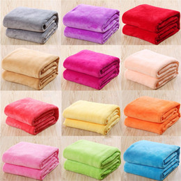 Wholesale Flannel Baby - Kids Solid Color Flannel Blankets Winter Warm Blankets Sofa children Swaddling 50*70cm baby bed sheet C3743