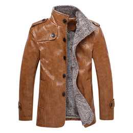 Wholesale Green Leather Sleeve Jacket - Men's Autumn Winter new style PU Leather Jacket fashion man leather coats mandarin collar suede jackets thicken outerwear leather clothing