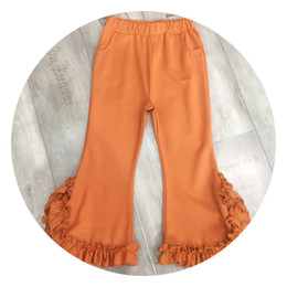 Wholesale Color Elastic Waistband - 2018 latest spring on both sides of the solid color pocket lace elastic waistband bell bottoms green black orange three-color optional p6