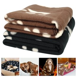 Wholesale Dog Paw Fleece Blanket - Small Paw Print Pet Cat Dog Fleece Soft Warmer Lovely Blanket 60*70cm Beds Cushion Mat Dog Blanket Cover 200Pcs