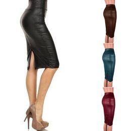 571b28287 pu leather skirt wholesale 2019 - Women PU Faux Leather Bodycon Skirt Sexy  Autumn High Waist
