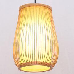 Vasi di bambù online-Lampada a sospensione per sala da pranzo in vaso di bambù del sud asiatico Lampada da corridoio rustica in stile country