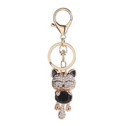Wholesale lucky cat car - 7 styles Lucky Smile Cat Keychain Crystal Keyrings Purse Bag Car Keychains Fashion Jewelry Key Ring