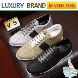 Wholesale Glitter Studs - Top Quality famous Luxury Brands designer sneakers casual shoes genuine leather mens women Glitter Web sneaker with studs Running boots