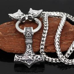 Cabezas de martillo online-Cabeza de lobo vid oidn de acero inoxidable para hombre con martillo thor Collar colgante MJOLNIR - Cadena de dragón