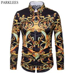 Mens Luxury Design Gold Blumendruck Casual Button Down Shirt 2018 Mode Slim Fit Langarm Kleid Shirts Männer Chemise Homme von Fabrikanten