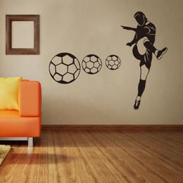 Schlafzimmer fußball tapete online-Casual Football Wallpapers Wandaufkleber Jungen Schlafzimmer Wohnzimmer Sport Club Dekoration Wasserdichte PVC Wand Poster