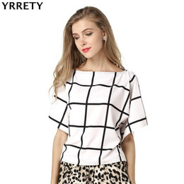 Wholesale plaid blouse batwing - YRRETY Print Women Chiffon Blouse Femme New Summer Short Batwing Sleeve Casual Tops Shirts Plus Size Female Loose O-neck Blusas
