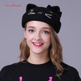 Fata sogni lana kawaii berretti autunno inverno donna cappello per le  ragazze caldo marchio di alta qualità carino gatto che borda vogue trilby  cappelli ... cb9fb4bee4bf