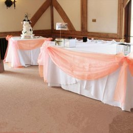 Wholesale table swags for weddings - 10m *1 .35m Peach Color Sheer Swag Diy Organza Swag Fabric For Wedding Decoration ,Backdrop Curtain And Table Decoration