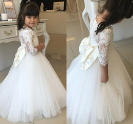 Fall Winter Long Sleeve Flower Girl Dresses Lace Ball Gowns Wedding Dress Bateau Big Bow Toddler Party Dress Cheap Pageant Dress Little Girl