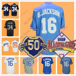 Wholesale Black Baseballs - Bo Jackson Jersey 50th Patch Men Women Youth 16# 8# 29# Kansas City Auburn Oakland Jerseys Flexbase Cool Base Home Away Baby Blue Grey White