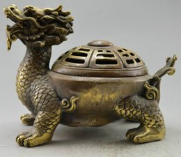 dragão de tartaruga Desconto Collectible-Decorado-Velho-Handwork-Copper-Esculpido-Dragon-Tortoise-Incense-B