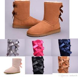 2019 New Australia Clássico botas de neve de Alta Qualidade Barato WGG mulheres botas de inverno de couro real Bailey Bowknot mulheres bailey arco neve boo