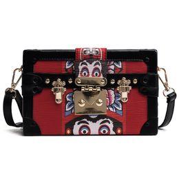 Wholesale Red Skull Clutch - Vintage Mini Box Bags Women Fashion PU Shoulder Bags Clutch Bag Purse Handbags Free Shipping no316
