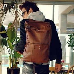Wholesale Trend Big Bags - Wholesale- men's trend Backpack male leather backpacks travel big size bags luggage men's student's fashion preppy backpack