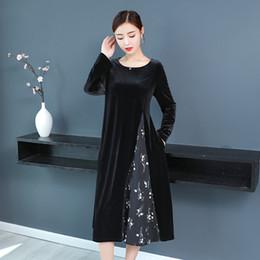 samtkleider midi Rabatt Mode Elegant Patchwork Blumenkleid Damen Schwarz  Plus Size Herbst Winter Lange Midi Samt 7adfc0b3b6