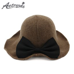 AETRENDS  2017 New Winter Wide Brim Wool Bucket Hat Women s Crimping  Fedora Bow Tie Bucket Cap Z-5965 9293df6182b7
