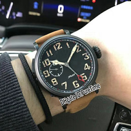 Wholesale crown leather watch - New 45mm Type 20 GMT 03.2430.693 21.C723 PVD Steel Black Dial Automatic Mens Watch Sports Watches Big Crown Brown Leather Strap ZTH-22b2