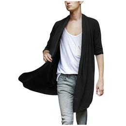 Wholesale Black Shawl Collar Cardigan - Men Shawl Collar High-Low Hem Long Cardigan