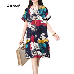 dd19a972d9516e Anteef Baumwolle Leinen Vintage Print Kleidung plus Größe Frauen beiläufige  lose Midi Sommerkleid vestidos femininos 2018 Kleider