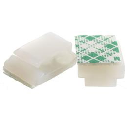 Legami di filo bianco online-Good deal-100XPlastic Fascetta ferma-cavo rettangolare con morsetto per montaggio su cavo bianco autoadesivo
