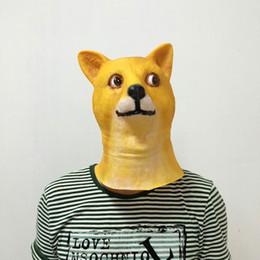 Wholesale latex animal head masks - Funny Dog Head Face Masks Novelty Masquerade Latex Mask Manual Prank Prop Halloween Party Supplies Hot Sale 14gq Y RW