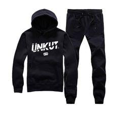 Unkut sudadera con capucha online-Hombres ropa hip hop unkut set hoodie + pantalones sudadera pullover casual streetwear ropa deportiva masculina famosa marca Rock Chándales