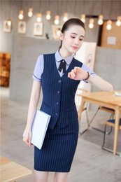 82b32c867c2 2018 Summer Formal 2 Piece Blazer Suits With Skirt and Tops Sets Striped  Uniform Styles Vest   Waistcoat Office Ladies Work Wear