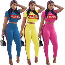 Wholesale Hockey Hooded - Summer Women Tracksuits Solid Women Fashion Letter Printed Hooded Crop With Striped Tight Skinny Pant 2pc Set