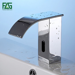 Wholesale Automatic Sink Faucets - FLG AC DC Battery Power Water Saving Cold Automatic Hands Touch Free Sensor Faucet Waterfall Bathroom Sink Tap Basin Faucet T20