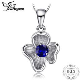 Flor de safira azul on-line-Jewelrypalace flor 0.34 ct criado blue sapphire pingentes para as mulheres charme 925 sterling silver jóias finas não incluem uma cadeia