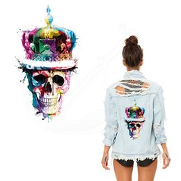 Wholesale Sticker Crown - Multicolor Crown Skull head stickers 28*16.23cm patches for clothing DIY woman T-shirt jacket Grade-A Thermal transfer