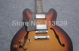 Wholesale Left Handed Jazz Electric Guitar - Factory wholesale Lefty es Guitar, Aged Electric Guitar, Plain Top, Light Brown, Left Handed,Left Handed Jazz Guitar, Dot Inlay free shippin