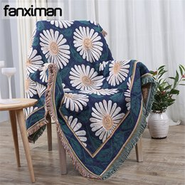 Wholesale thick cotton sheets - Bohemian Coon Blanket Decorative Plaids Sofa Thick Throws Blankets for Beds Couch White Chrysanthemum Weaving Bed Sheet Cover