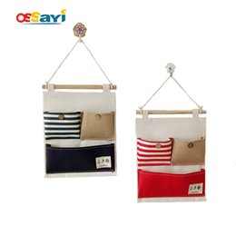 Wholesale Combined Cotton - Wall Mounted Storage Bags 3 pocket Bathroom Kitchen Supplies Cotton Combined Navy Style Creative Door Behind Wall Hanging Bags