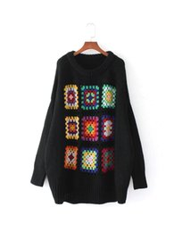 Wholesale Wool Shorts Plus Size - Boho Women Sweater 2017 Winter Lattice Floral Crochet Drop Shoulder Pullovers Casual Warm Knitted Christmas Sweaters Plus Size