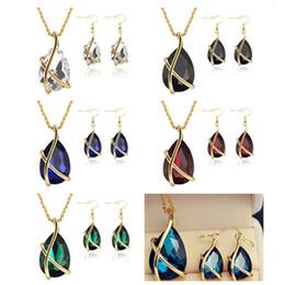 Gotas de oreja de diamante online-Venta caliente Diamante Pendientes Collar de Gota Pendientes de Joyería de Oro Jaula Orejera Cuff Colgante Cadenas Joyería de La Boda Regalo para las mujeres Envío Gratis