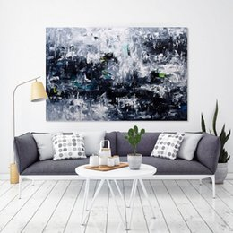 Wholesale nude oil painting large - Black and white original large abstract paintings painted on a canvas Living Room Painting -Wall Art Textured Art Living Room