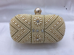 Wholesale Chinese Hand Cream - Designer diamond pearl jewelry decorative girl pu solid clutch envelope evening female Immediately shipping cream color Lady hand bags