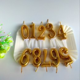 10 Pcs Romantic Gold Birthday Candles For Kids Girls Boys Party Number Cake Decorations 0 9 On Sale
