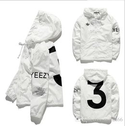 Wholesale Designer Long Jackets - Designer Jacket Men KANYE Hip Hop black white Windbreaker Jackets Men Women Streetwear Fashion Outerwear uniform coat men clothing