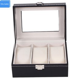 Wholesale jewelry box glass top - Watch Box Small 3 Mens Womens Black Leather Display Glass Top Jewelry Case Organizer WBG1010 Xinlu Custom Package Special