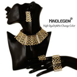 Wholesale Costume Big Necklace Sets - Big Nigerian Wedding African Beads Jewelry Sets Crystal Fashion Dubai Gold Color Jewelry Sets For Women Costume Design